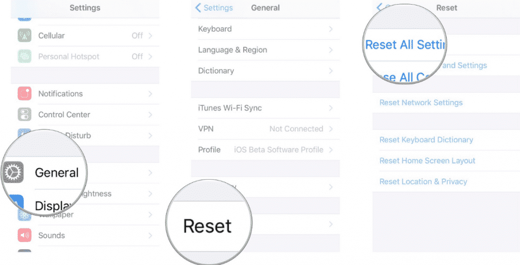 reset all settings on iPhone X